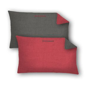 Schiesser Kissenhüllen 40 x 80 cm 2er Pack Doubleface, 100% Baumwolle, Farbe:rot, Größe:40 x 80 cm