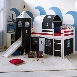 Homestyle4u 522, Kinder Hochbett Mit Rutsche, Leiter, Turm, Tunnel, Vorhang Pirat, 90x200 cm, Schwarz, Massivholz Weiß
