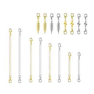 16 Stück Magnetverschlüsse DIY mit Kettenverlängerer für Armband hestellen Rund Kettenverschluss Schmuck Verbinder