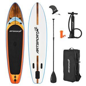 ArtSport Stand Up Paddle Board Beach Rocker aufblasbar – SUP Board Set mit Pumpe, Paddel, Tasche und Zubehör – Tragkraft bis 150 kg – Weiß & Bunt