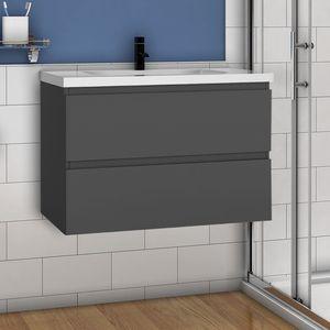 Badmöbel Set 80cm Badezimmer Waschtisch mit Unterschrank Anthrazit Matt
