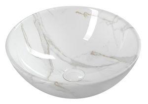 Design Keramik Aufsatzwaschbecken Waschbecken Waschschale weißer Marmor DALMA