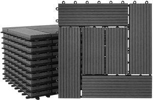 LZQ 11 Stück 30x30cm WPC Kunststoff Fliesen Wasserfilterbar Terrassen- & Balkonfliesen Zusammenbaubar Holz Optik Garten Klickfliese Gesamt ca. 1m² Anthrazit