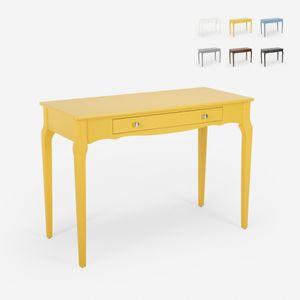 Shabby Chic Holz Eingangsmöbel Schreibtisch Konsole 106x47cm ToscanoFarbe: Gelb, Färbung: Multicolor, Tischform: Rectangular, Höhe (cm): 70, Breite (cm): 106, Tiefe (cm): 47, Zusammensetzung: WOOD, MDF, Modelle: TOSCANO, Länge (cm): 47