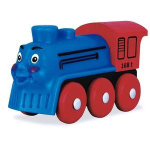 Eichhorn 1353 Lokomotive mit Gesicht blau für Holzeisenbahn