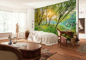 "Komar Fototapete ""Spring Lake"", grün, lila Blüten,  grüne Blätter, 368 x 254 cm"