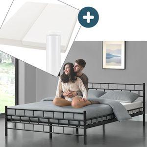 Juskys Metallbett Malta 140 x 200 cm schwarz – Komplett Set mit Matratze - Bett mit Lattenrost und Kaltschaummatratze – modern & massiv – große Liegefläche