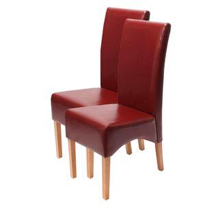 2x Esszimmerstuhl Crotone, LEDER  rot, helle Beine