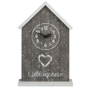 Tischuhr Standuhr Lieblingsheim grau / weiß 29x18cm Dekouhr Uhr Retro