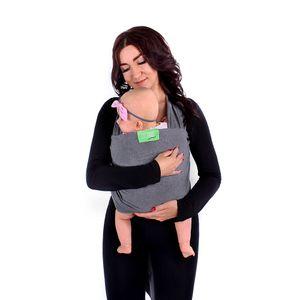 LULANDO Elastisches Babytragetuch Tragetuch für Neugeborene und Säuglinge. Praktische Babytrage Tragehilfe aus 100% weicher und atmungsaktiver Baumwolle, Farbe:Dark Grey, Größe:5.2 x 0.55 m