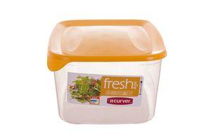 Curver Gefrier-safe rechteckige Kunststoff-Lebensmittel-Lagerbehälter mit gelben Deckel (3 l), EF503759