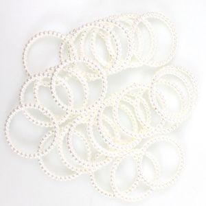 25 Serviettenringe Perlen Kunststoff Ø4cm Serviettenhalter Servietten Tischdeko, Farbe:weiß