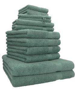 Betz 12er Handtuch-Set PREMIUM Baumwolle, Farbe  tannengrün