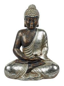 Großer Buddha 50 cm braun silber Buddhafigur Figur Skulptur Dekofigur Esoterik