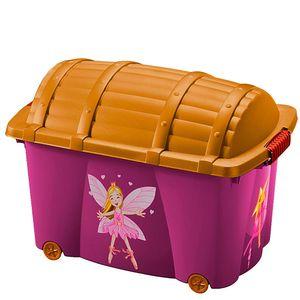 Aufbewahrungsbox Spielzeugkiste | mit Rollen | Vol. 50L | mit Deckel | ''Pirat'' und 'Fee' Rollenbox Schatztruhe Kiste, Muster / Farbe:Fee
