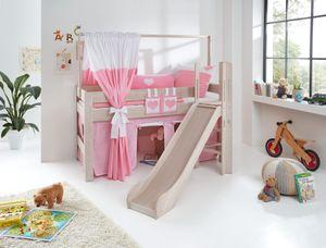 Relita Spielbett LEO Buche massiv white wash, mit Rutsche und über Eck gebauter Leiter BS1321146-B90+TX5062056+TX5032025-M1