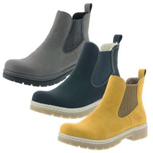 Rieker Damen Stiefeletten Chelsea Boots Blockabsatz Y9460, Größe:39 EU, Farbe:Grau