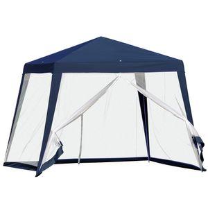 Outsunny Gartenpavillon Pavillon Festzelt Partyzelt wetterfest Zelt mit Moskitonetz Metall + Polyester Blau 3 x 3 m
