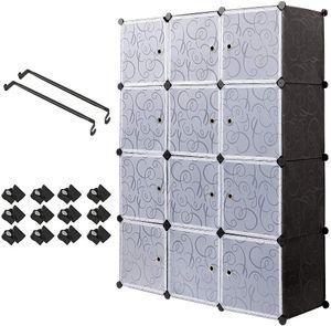 12 Kubus Kunststoff Kleiderschrank Garderobenschrank, Steckregal Kombischrank,Schrank Regalsystem mit 2 Kleiderstange - Schwarz und Weiß - PONCTUEL ESCARGOT