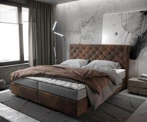 Bett Dream-Great Braun Vintage 180x200 cm mit Matratze und Topper