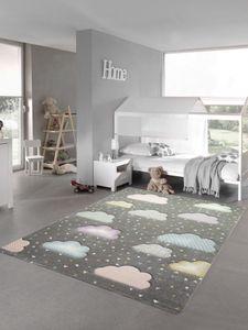 Kinderteppich Wolke Kinderzimmerteppich in grau blau rosa Größe - 80x150 cm