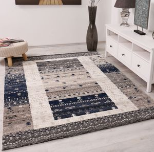 Teppich Wohnzimmer Boho Ethno Scandi Modern Marokkanische Muster Grau Beige Blau mit Farbübergang, Maße:160 x 230 cm