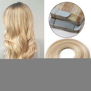 S-noilite Tape Extensions Echthaar Haarverlängerung Klebeband Haarteile Glatt 100% remy Haar 20stück Verlängerung +10pcs free tapes Honigblond/Hellblond 45 cm