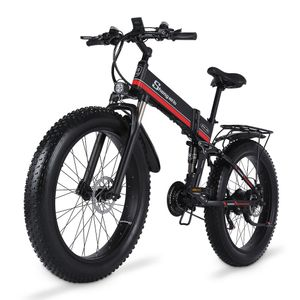 26 Zoll faltbares E-Bikes, E-Bike Fatbike Schnee-Fahrrad,Elektrofahrrad, Mountainbike Klappbar E-Faltrad Citybike 21 Gänge 40km/h 12.8Ah
