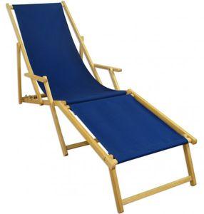 Liegestuhl blau Sonnenliege Gartenliege Fußteil Deckchair Strandstuhl Buche klappbar 10-307NF