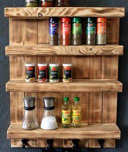 Gewürzregal aus Holz für die Wand - Geflammt - 4 Stellflächen - 65 x 50 x 12 cm - Massivholz
