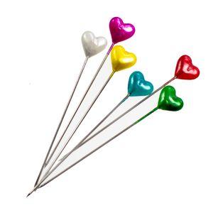 140 Herz-Stecknadeln Polsternadeln Herznadeln, 55mm, Herz Kopf, bunt oder weiß, Farbe:Farbmix 1