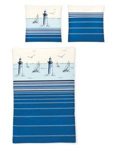 Irisette 8705-20 Bettwäsche Mako-Satin Blau Leuchtturm Maritim 135 x 200 cm, GRÖßENAUSWAHL:135x200 cm + 80x80 cm