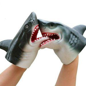 2 Stück Hai Handpuppe Delphin Handpuppe für Kinder Weichgummi Realistisches Weißes Hai Rollenspiel Spielzeug