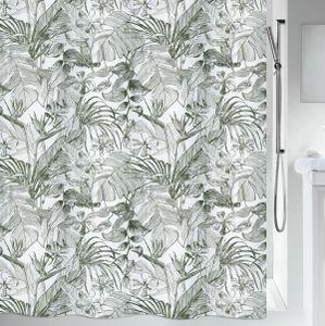 "Spirella Anti-Schimmel Duschvorhang - Anti-Bakteriell, waschbar, wasserdicht, Polyester, ""Tropic"" 180x200cm Weiß Grün"