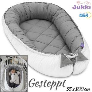 JUKKI® Baby Nestchen 100x55cm bis zu 9 Monaten ★ 2seitig [gesteppt - grau weiß] Nestchen Babybett Reisebett Kokon Babynest Kuschelnest Nest