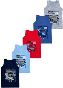 J-Unterhemd E-8637 - 5 Jungen Unterhemden aus Baumwolle Tank Gr. 128-134 (8-9 Jahre)