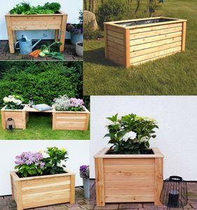 Pflanzkasten Lärche Pflanzbeet Stelzenbeet Hochbeet Blumenkasten Frühbeet Holz, Maße:120x60x75