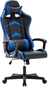 IntimaTe WM Heart Gaming Stuhl, Bürostuhl mit verstellbarem Kopfkissen und Lendenkissen, Ergonomischer Schreibtischstuhl, Racingstuhl Mir hoher Rückenlehne (Blau)