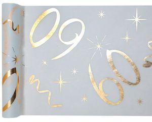 Tischläufer Vlies 60. Geburtstag - 30 cm x 5 m - weiß & gold