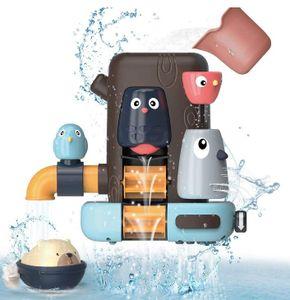 Badespielzeug Set für Baby Kinder, Multifunktionales Badewannenspielzeug, Kleines Vogelbaumhaus, Bär Geschenke für Jungen und Mädchen