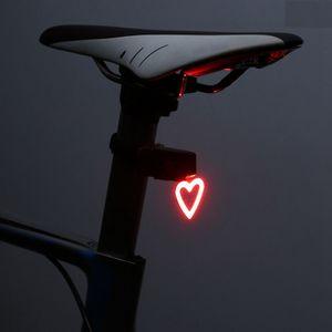 Fahrrad Rücklicht, Herzförmig Ultra Hell LED USB Aufladbar Wasserdichte Fahrradlicht Fahrradbeleuchtung Fahrradlampe Aufladbar Fahrradrücklicht Fahrradhelme Lichter