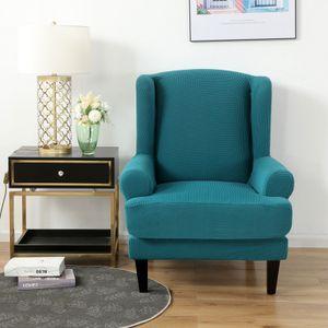 Stretch Ohrensesselbezug, Jacquard Sofabezüge Ohrensessel Stretch Couch Schonbezug Polyester Elasthan Möbelschutz (Blauer See)