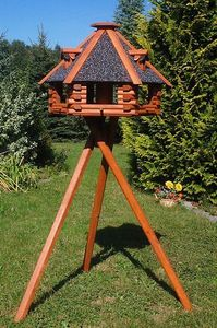 XXL Luxus Vogelhaus, Blickfang, Vogelfutterhaus aus Holz, 70x45 cm, V13s XXL mit Ständer