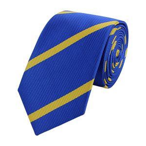 Schlips Krawatte Krawatten Binder Schmal 6cm Blau/Gelb gestreift Fabio Farini