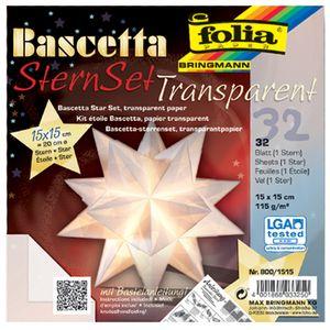 folia Faltblätter Bascetta-Stern weiß-transparent 115 g/qm 150 x 150 mm 32 Blatt