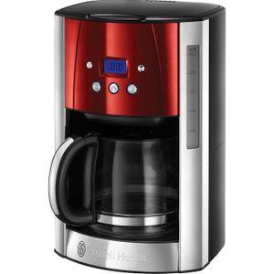 Russell Hobbs Luna, 1,8 l, Gemahlener Kaffee, 1000 W, Schwarz, Rot, Silber