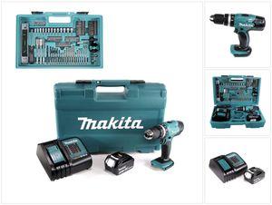 Makita DHP 453 FX12 Akku Schlagbohrschrauber 18V 42Nm + 1x 3,0Ah + Ladegerät + 101tlg Zubehör Set + Koffer