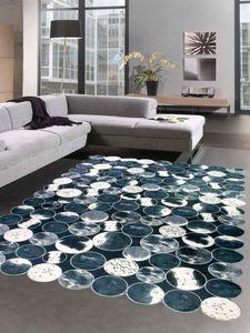 Kuhfell Optik Teppich Patchwork in Schwarz Grau Creme Größe - 120x160 cm
