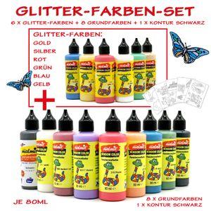 15er Window Color Glitter-Farben Set Fensterfarben Malfarben
