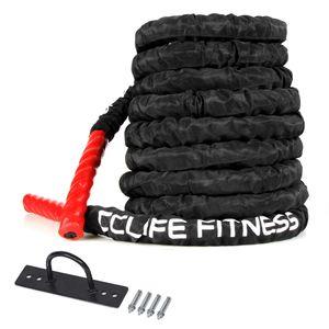 Schlachtseil Trainingsseil Sportseil Schlagseil 9m 15m Battle Ropes Schwungseil, Größe:9m mit schwarzer Schutzhülle und Halterung